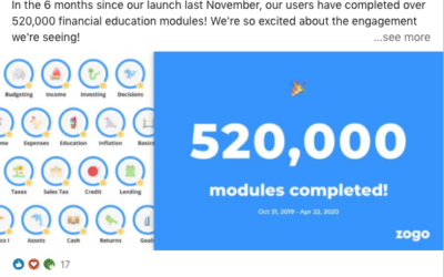 Zogo Exceeds 500,000 Financial Education Modules Completed Milestone in 6 Months